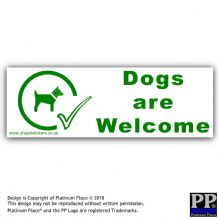 Dogs Are Welcome-Green/White,Dog Sticker Warning Notice Sign,Can,Come,In